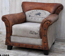 CHARLESTON POLO VINTAGE GENUINE LEATHER ARMCHAIR COUCH SOFA RECYCLED CANVAS