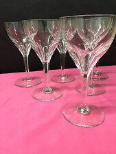 6 verres à vin Mod. NESTOR cotes plates en cristal. H:124 mm.Val Saint Lambert