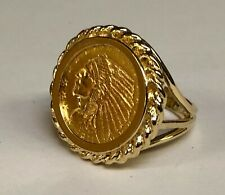 22K GENUINE INDIAN HEAD 2 1/2 DOLLAR US GOLD COIN - 14 kt Gold RING