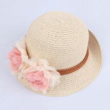 Toddlers Infants Baby Girls Flower Summer Straw Sun Beach Hat Cap 0hau Beige