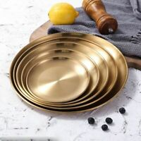 1 Pc Dinner Gold Plate Kitchen Serving Dishes Round Plates Cake Tray Western Ste