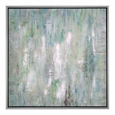 Large Square Green Blue Silver Abstract Painting | Wall Art Light Colorful