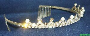 Vintage Crystal Tiara Hair Band Princess Crown Rhinestone Faux Pearl Headband