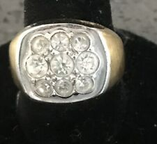 Solitaire Style Band Vintage Sz 8 Men'S 14Kt H.G.E. Pave Cubic Zirconia Ring