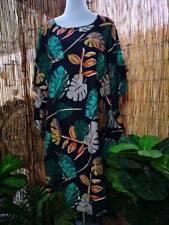 Black Cotton Floral Polynesian Round Hem Beach Kaftan Dress One Size 12-14-16-18