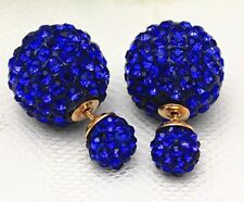 LARGE ROYAL BLUE SHAMBALLA CLEAR CRYSTAL BALL DOUBLE STUD EARRINGS 16MM
