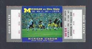 VINTAGE 1981 NCAA OHIO STATE BUCKEYES @ MICHIGAN WOLVERINES FULL FOOTBALL TICKET
