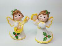 Vtg Porcelain Christmas Angel Figurines Originals By Erika Guitar Tambourine
