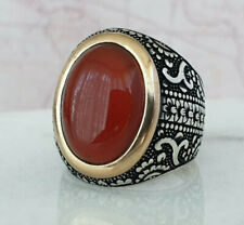 Turkish Ottoman Red Agate Gemstone Solid 925 Sterling Silver Ring Gemstone