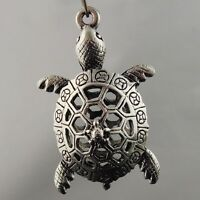 6pcs Antiqued Silver Alloy 3D Hollow Tortoise Pendant Charms 36*17*15mm 08397