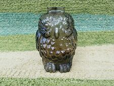 Vintage 1950's Wise Old Owl Smokey Glass Piggy Bank Still Coin Penny Money Jar