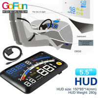 "Auto HUD Head Up Display OBD2 EUOBD 5,5 ""GPS MPH / KM Geschwindigkeitsmesser"