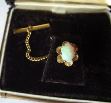 TIE PIN WHITE OPAL WITH  CHAIN BUTTON  CATCH IN DISPLAY BOX
