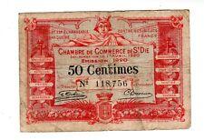 FRANCE CHAMBRE DE COMMERCE de SAINT DIE  Billet 50 centimes 1920 Nécessité