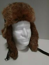 MAD BOMBER Rabbit Fur Lined Hunter Aviator Trapper Hat Ear-Flaps Sz S Green EUC