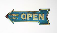 Sign Plate Open Retro Metal Plaque Vintage Wall Decor Classic Poster Bar Pub Art