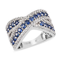 925 Sterling Silver Platinum Over Blue Sapphire Zircon Cluster Ring Gift Ct 2.2
