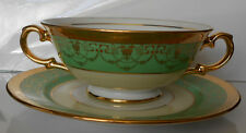 """Le Mieux China  24 KT   """"2 - Handle Creme Soup Bowl Set""""  ENCRUSTED GOLD"""