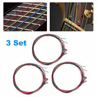 3 Set of 6pcs Rainbow Colorful Color Strings For Acoustic Guitar Accessories
