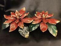 "Poinsettia Candle Holder Set of 2 Enameled Metal Italy Neiman Marcus 8"" x 3"""