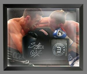 Carl Froch And George Groves Dual Signed Black Boxing Glove In A Dome Frame