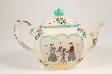 Vintage Sadler England Rare Cube Teapot 6 Cup 1940s Ivory w/ Painted Couple