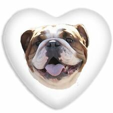 Bulldog Face Cute Dog Faux Silk Heart Shaped Sofa Cushion