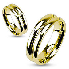 Gold Plated Double Dome Ring Mirror Polished Wedding Band Ring