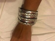 Good Works Leather Studded Be Happy Cuffs, Silver