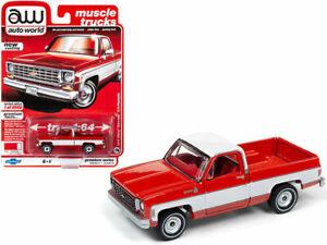 1975 CHEVROLET SILVERADO FLEETSIDE PICKUP RED 1/64 BY AUTOWORLD 64232/ AWSP030 A