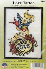 """Cross Stitch Kit - Design Works - """"Love Tattoo"""" - 5"""" x 7"""" #DW2967"""