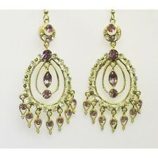 Gold plated lime green with light amethist hook in drop