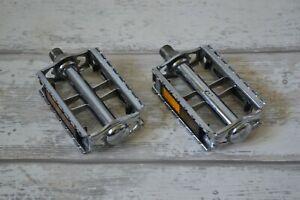 """Vintage Union U41 K10491 Chrome Steel Pedals Set with Reflectors 9/16"""" Pair"""