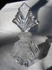 Vintage Diamond Wave Shaped 24% Lead Crystal Perfume Art Deco Fan Topper Marked