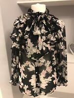 River Island Chiffon Flower Frill Pearl Button Pussy Bow Blouse Size 12 RRp £38