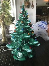 Vintage 18 Inch AtlanticCeramic Christmas Tree With Snow On Branches! Gorgeous!