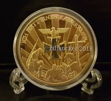 WW I/II 1914-1945 Fallen Comrades Iron Cross 24k Gold Plated Coin Gift + Stand