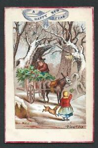 Y33 - HOLLY SELLER WITH DONKEY CART - 1873 - CHROMO ON VICTORIAN XMAS CARD
