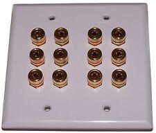 6 Speaker Wall Plate Banana Jack Plug 12 Post Dolby