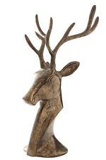 Freestanding Reindeer Sculture ROAR, Antique Brass