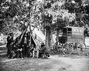 1863 Photo of a Group at tent and wagon of the New York Herald - Great Vintage