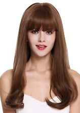 Wig Me Up Perruque pour Femme Long Lisse Ondulé Affiler Frange Brun Mixte DL047
