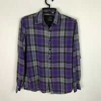 Blue Crown Flannel Shirt Mens Size M Purple Plaid Long Sleeve Cotton