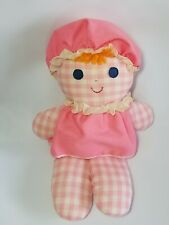 Vintage Fisher Price Gingham Pink Girl Doll Cholly Dolly Rattle 1975 Plush