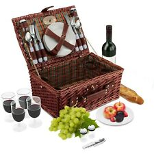 4 Person Wicker Picnic Basket Set | Plates, Wine Glasses, Cutlery, S/P Shakers