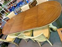 Antique Dining Table Adjustable 4.5' To 9' with Custom Leather Cover & 6 Chairs