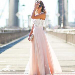 Damen Spitze Abendkleid Sommer Maxikleid Lang Party Brautjungfern Hochzeit Kleid