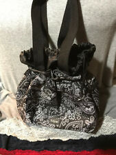 Thirty-One Black & Grey Multi Nylon Floral Drawstring Tote Purse Lunch Bag