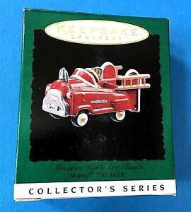 "Hallmark ""Murray Fire Truck"" Cast Metal Kiddie Car Miniature Ornament 1996"