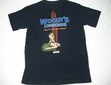 Woody's Longboards Surfer Pinup Men's Black T-Shirt Size Small